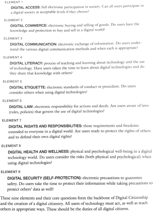 The 9 elements of digital citizenship project